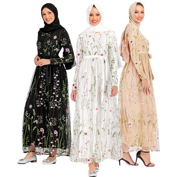 CM6241 Dubai Abayas für Frauen Blumen Stickerei Gaze Türkei Bangladesch Kaftan islamische Kleidung Plus Size Arabisch Robe Kleid Muslim