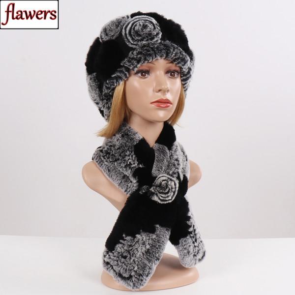 Yeni Kış Çiçekleri Gerçek Rex Tavşan Kürk Eşarp Şapka Takımı Lady Örgü Gerçek Kürk Şapka Atkılar İyi Elastik Natürel susturucuları