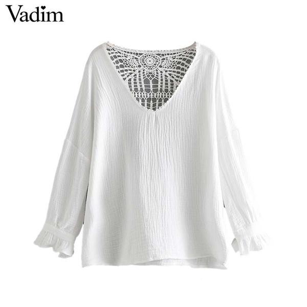 Vadim mulheres doce V pescoço oco out blusa elegante branco camisa de manga longa feminina verão casual bonito tops blusas LB197