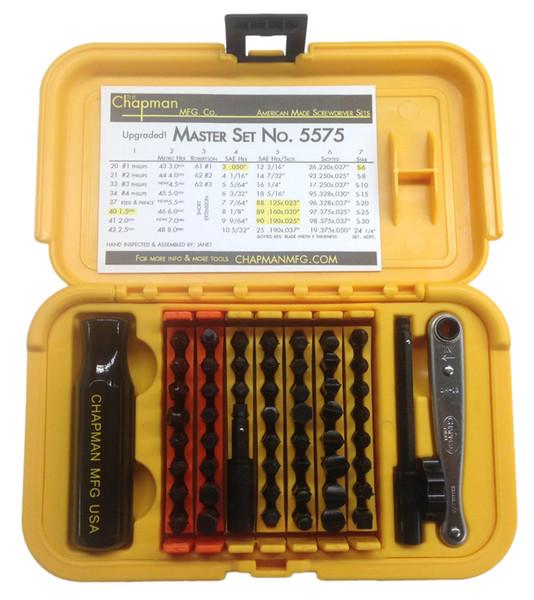 Chapman MFG Master Kit Jeu de tournevis américain de 64 pièces, 55 pièces, Mini cliquet