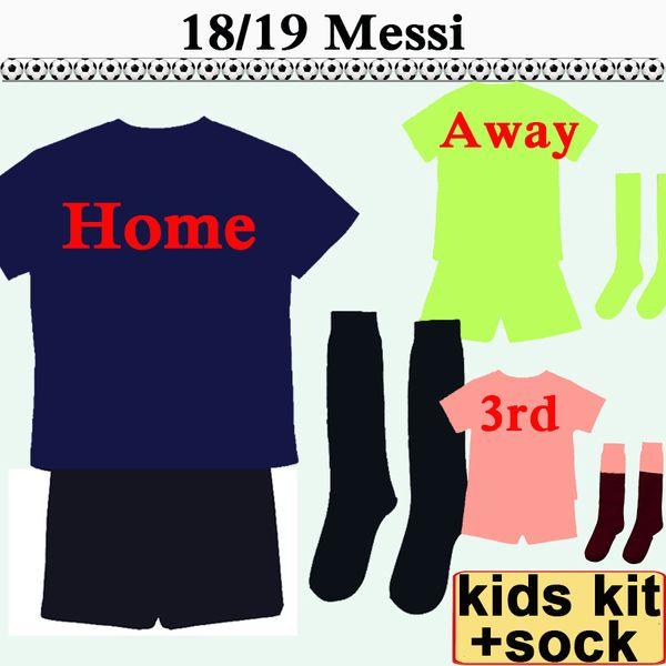 2018 19 MESSI SUAREZ Kids kit Soccer Jerseys COUTINHO PIQUE Home Away 3rd Football Shirts Suit RAKITIC A.INIESTA Child Camiseta de Futbol