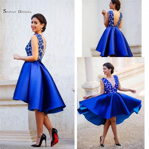 2019 Royal Blue Hi Lo Short Prom Dresses Deep V Neck and V-back Arabic Party Gowns