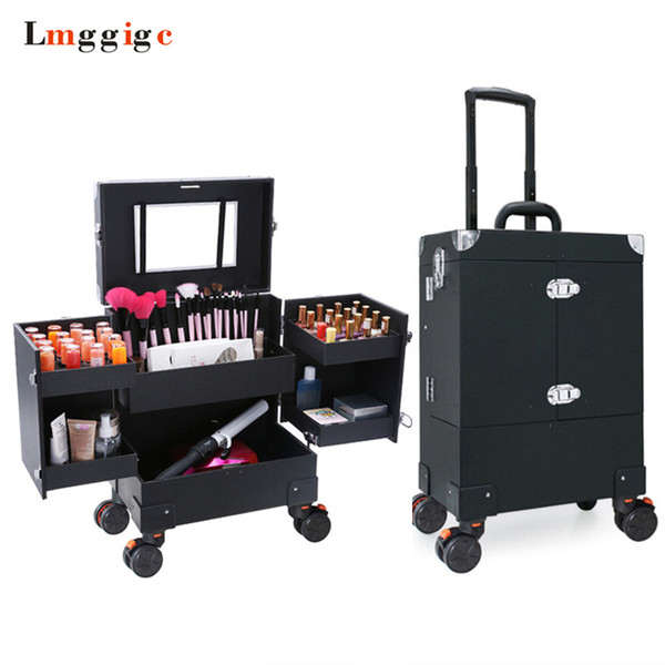 Makeup artist Toolbox with Rolling,Cosmetic Luggage Bags for Cabin,Wheel Trolley Nails Make-up Case,Beauty Suitcase Box
