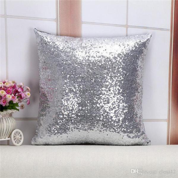 Nouveau Solide Couleur Glitter Paillettes Throw Pillow Home Car Sofa Décor Housse de coussin