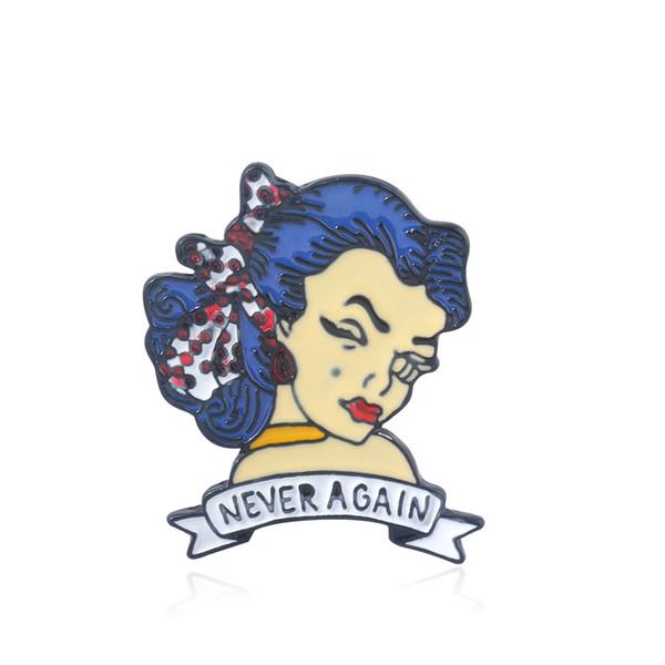 Never again Text Brooches Modern girl Mobile phone Men Women Kids Shirt Coat Gift Jewelry