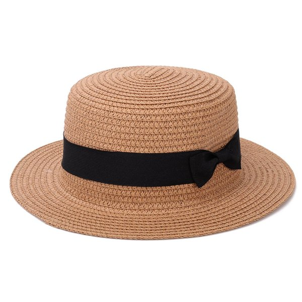 Lady Boater Sun Caps Ribbon Round Flat Top Straw Beach Hat Panama Hat Summer Hats For Women Straw Snapback Gorras