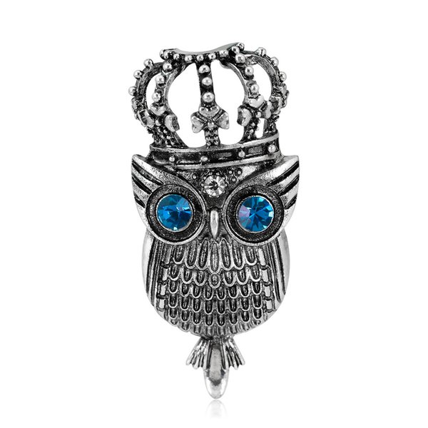 High Quality 2019 New Fashion Crown Owl Brooches For Women Animal Brooch Pins Dropshipping