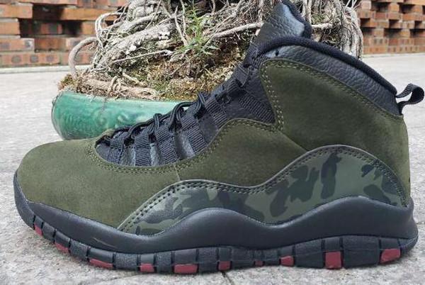 2019 Haute Qualité 10 X Chaussures De Basket-ball Hommes Remise J10 X Sport Toile Armée vert camouflage 10s Sneakers