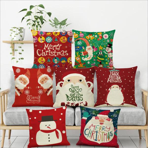 2019 Año Nuevo Regalo de Navidad Dazzle Color Árbol de Navidad Impresión Funda de almohada Sofá Cojín Lino Almohada Funda de almohada para automóvil