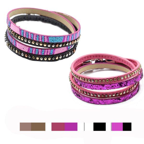 DS7 мода Boho многослойные искусственная кожа Wrap браслеты красочные ручной работы браслет Застежка повседневная браслет для женщин, Девушка, мальчик ПОДАРОК заклепки