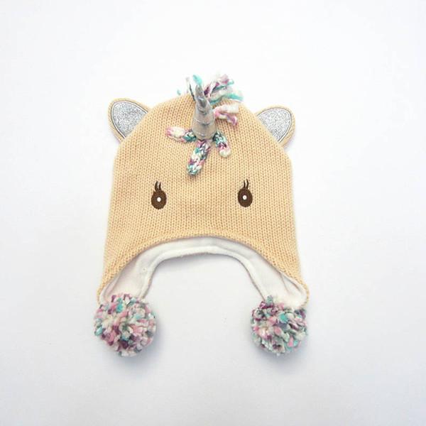 Осень Зима Unicorn Девушки шапки Детские шапки Детские шапки мультфильм рук Вязаные шапки девочек Hat мальчиков Hat Cap Дети младенца Cap 0-6y A9717