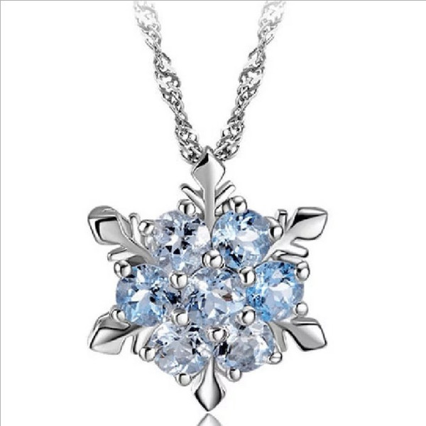 Fashion Silver Plating Wedding Jewelry Cubic Zirconia Snowflake Star Pendant Necklace Women Girl Party Accessories Austrian Crystal Necklace