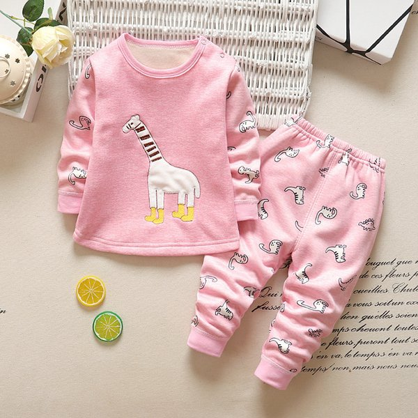Qualidade meninos Meninas Pijama Set Crianças Conjuntos de Roupas de Bebê Nightwear manga Comprida camisas macias + Calças Crianças Menina Pijamas Define