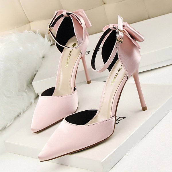 Women Sweet Bowknot Dress Shoes Lady High Heels Party Wedding Evening Pumps Ankle Strap Bridal Pump Pointed Toe Sandals