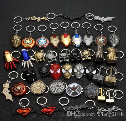 19 styles Marvel Avengers Thor's Hammer Mjolnir Keychain Captain America Shield Hulk Batman Mask KeyChain Keyrings jssl