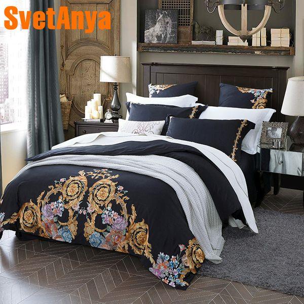 Svetanya embroidered Bedding Sets egyptian Cotton Bedclothes Queen Double King size (flat sheet + Pillowcase +Duvet Cover)