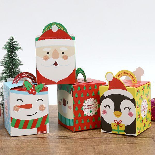 Cartoon Confezioni regalo Scatole con la maniglia della carta di notte di Natale di Apple Caso 4 stili Stampato imballaggio Contenitori nuovo disegni 0 55ss E1