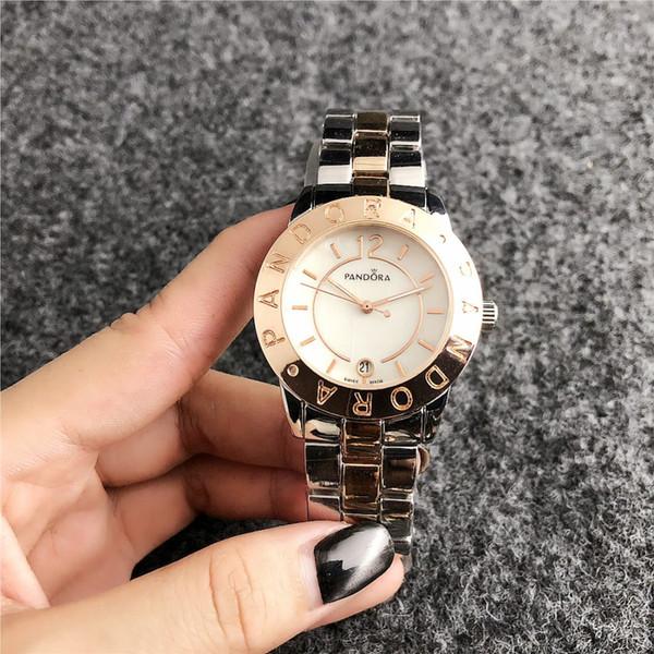 2020 Nueva 40mm manera de las señoras de los hombres de lujo del reloj del acero inoxidable superior de la marca Casual Watch Deportes relojes de cuarzo relojes