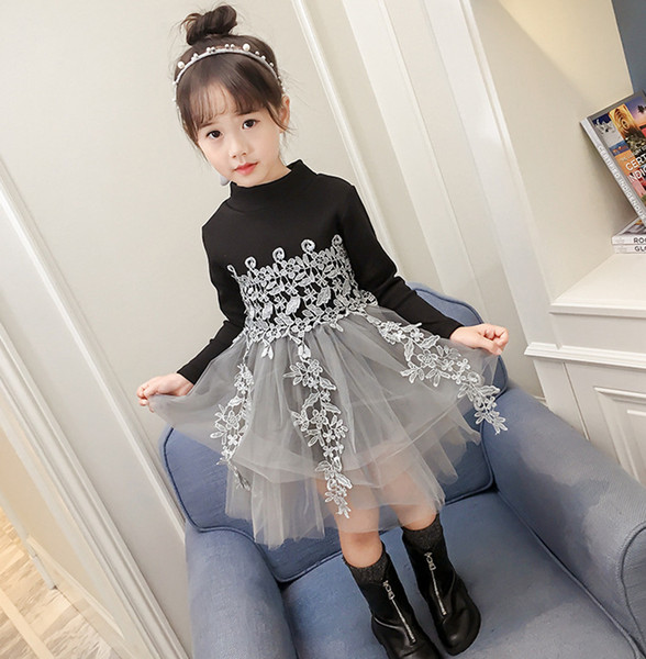 2019 Toddler Kids Baby Girls Casual Party Knit Sweater Princess Tulle Dress Outfits vestidos girls dress kids dresses for