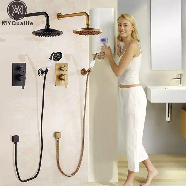 "Concealed Bathroom Shower Faucet Mixer Wall Mount Bath Shower Mixer Tap Brass Antique 8"" Rainfall with Handshower Shower Set"