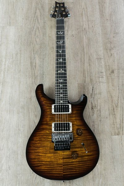 Cu tom 24 floyd ro e electric guitar vintage brown tiger flame maple pattern thin 10 black gold reed mith 24 fret electric guitar