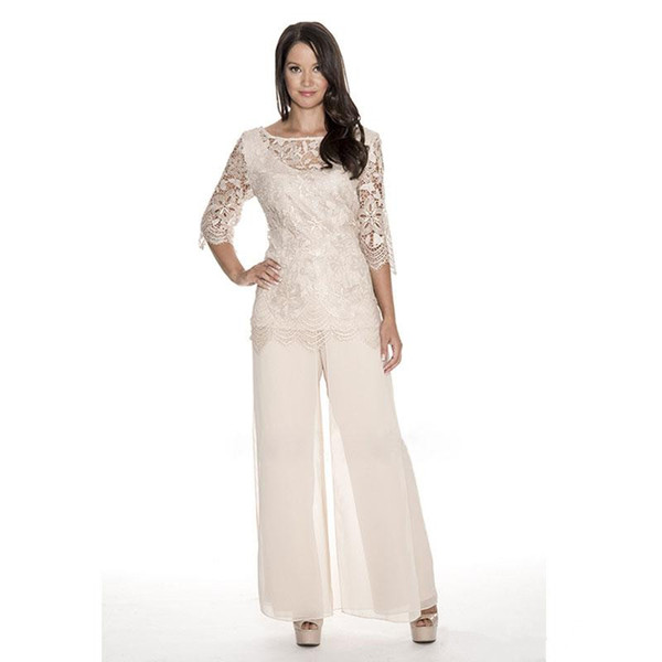 Elegant Lace Mother Of The Bride Pant Suits Sheer Bateau Neck Wedding Guest Dress Two Pieces Plus Size Chiffon Mothers Groom Dresses