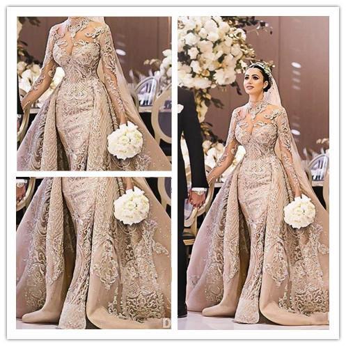 2020 vestidos de boda elegante de la sirena de lujo con Vestidos de novia de encaje desmontable de tren de Champagne de manga larga traje de novia