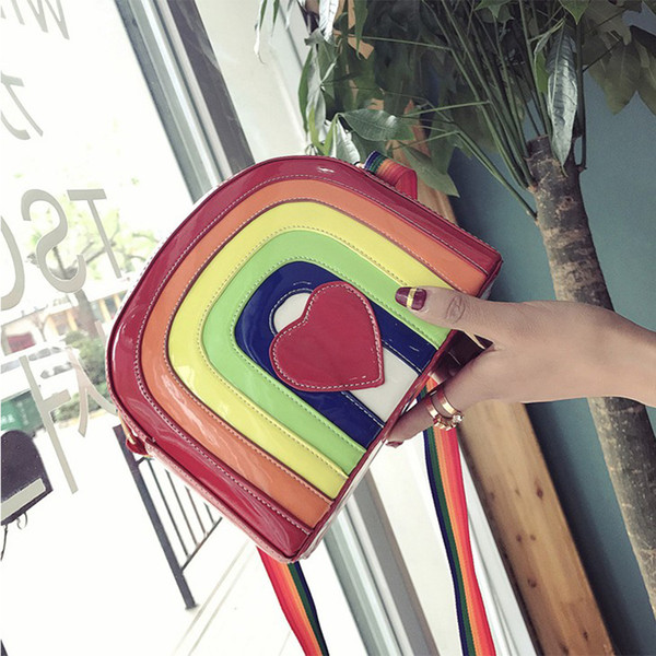 Rainbow Jelly Bags Women Cartoon Heart Summer Beach Bags Candy Color Women Messenger Bag Pu Leather Females Handbags New