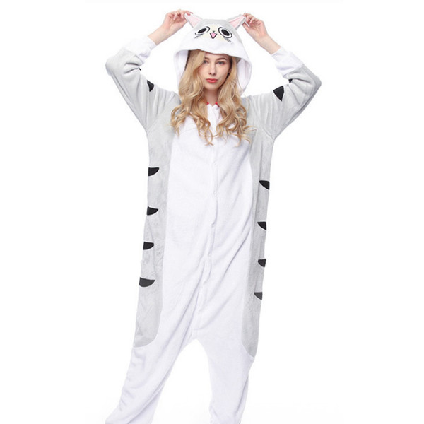 2018 New Winter Ladies' Pyjamas Suit Cartoon Image Gray Beard Cat Comfortable And Warm Night Pajamas pijama