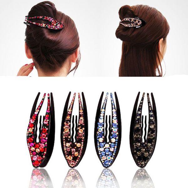 Korean Crystal Hairpin for Women Hairclip Top Side Clip Rhinestone Duckbill Clip Hair Claw Barrette Girls Hair Accessories