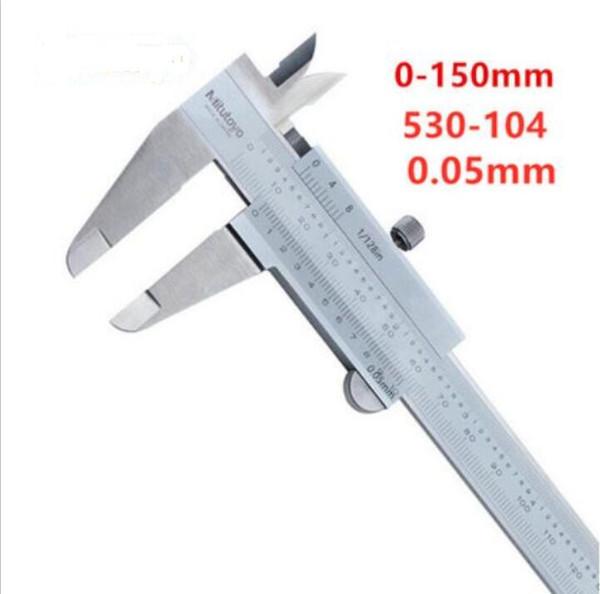 best selling New packaging Mitutoyo 530-104 vernier caliper metric inch range 0-150mm 0-6in upgraded version (0.05mm)* 1