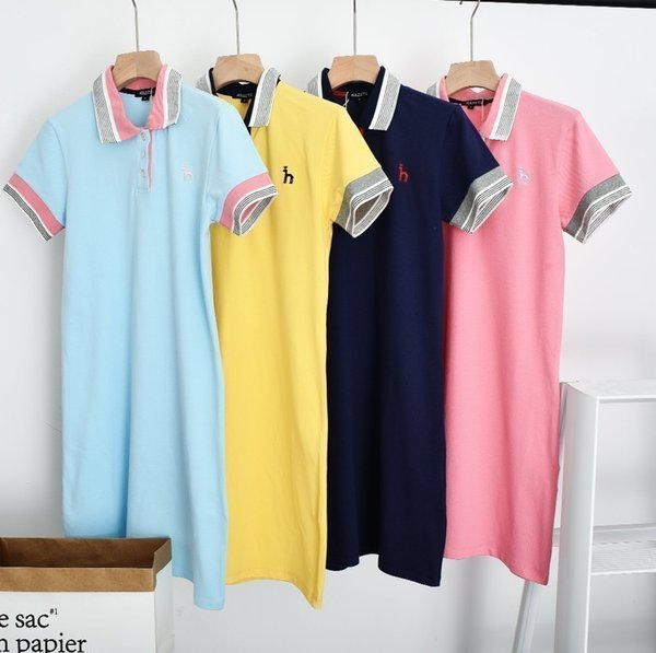 Ladies' Dresses Casual College Style Striped Printed Lapel Dresses Combed Stretch Mesh Cotton Fabric