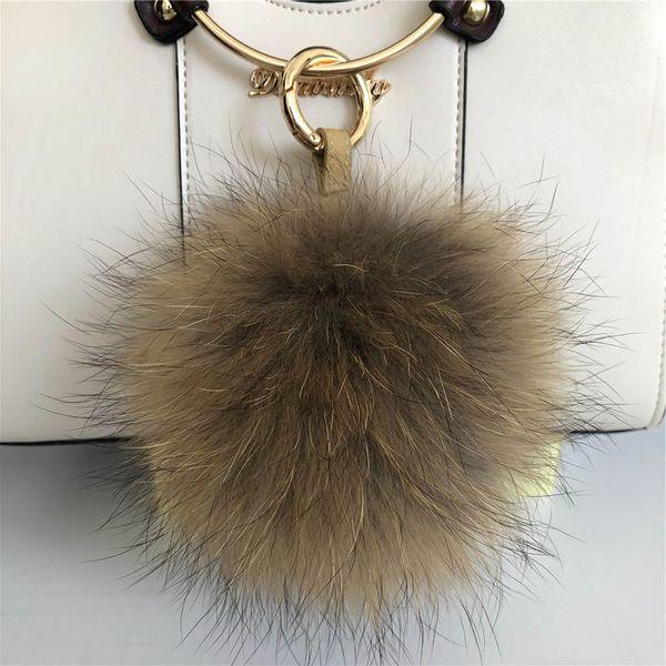 "15cm/6"" Natural Brown Large Real Raccoon Fur Pompom Ball Charm Key Chain Keyring Accessories Phone Purse Handbag(Can Accept Custom)"