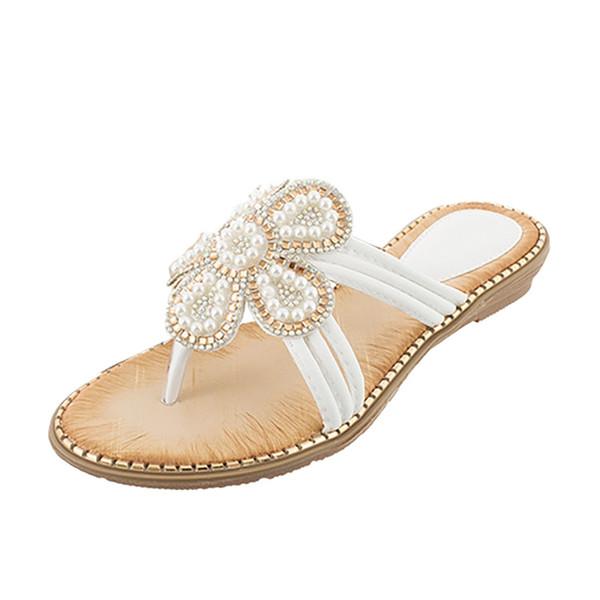 xiniu Женщины Дамы Богемия Bling Crystal Flat Flip-Flop Beach Повседневная обувь Перл Плетение Цветочные Тапочки Шлепанцы Пляж # 0429