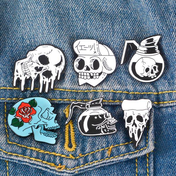 Rose Flowers Skeleton Coffee Pizza Brooch for Women Men Japanese Samurai Ninja Punk Denim Clothes Badge Enamel Pins Brooches