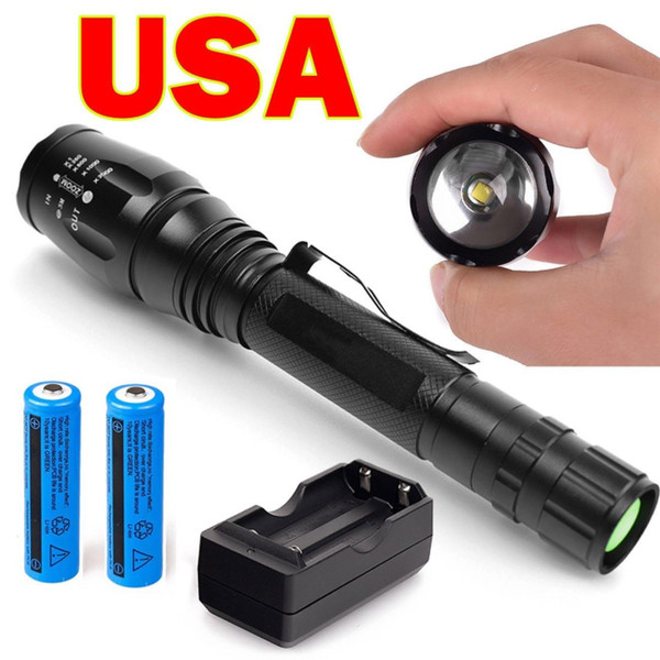 Hot selling Powerful Tactical T6 LED Flashlight T61 black Rechargeable Camping Torch+2* 18650 Battery+double Charger set from USA