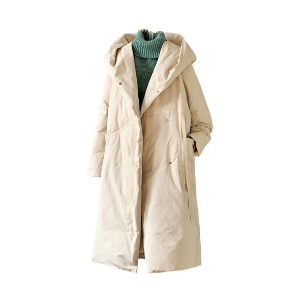 Color sólido con capucha Chaqueta de plumón para mujer Plus Sección larga Casual Engrosamiento Largo Nuevo Algodón Lino suelto