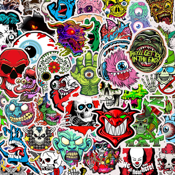 top popular 50pcs lot Waterproof Terrible Stickers Skull Sticker and Decals for Graffiti Laptop Motorcycle Bicycle Luggage Skateboard 2021