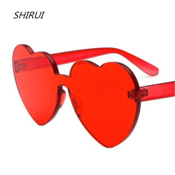 Love Heart Shape Sunglasses Women Rimless Frame Tint Clear Lens Colorful Sun Glasses Red Pink Yellow Shades glasses women oculos