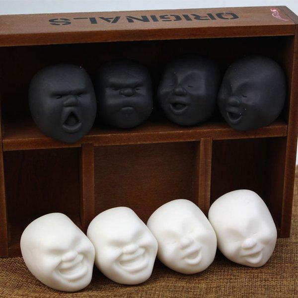 Kawaii TPR Caomaru черный белый Сожмите игрушку 6 см мягкое снятие стресса Сжать Vent Human Face Ball оптом