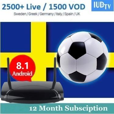 Android TV Box R2 With 1 Year IUDTV French Belgium Dutch Spanish Polish iptv subscription Channels Arabic VOD Code