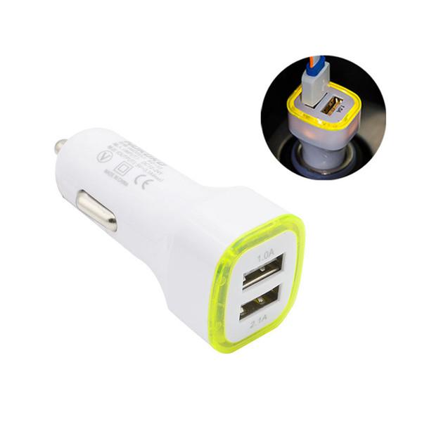 ZZYD LED Dupla Usb Car Charger Vehicle Adaptador de Energia Portátil 5V 1A Para Samsung S8 Nota 8 iPX CAB324