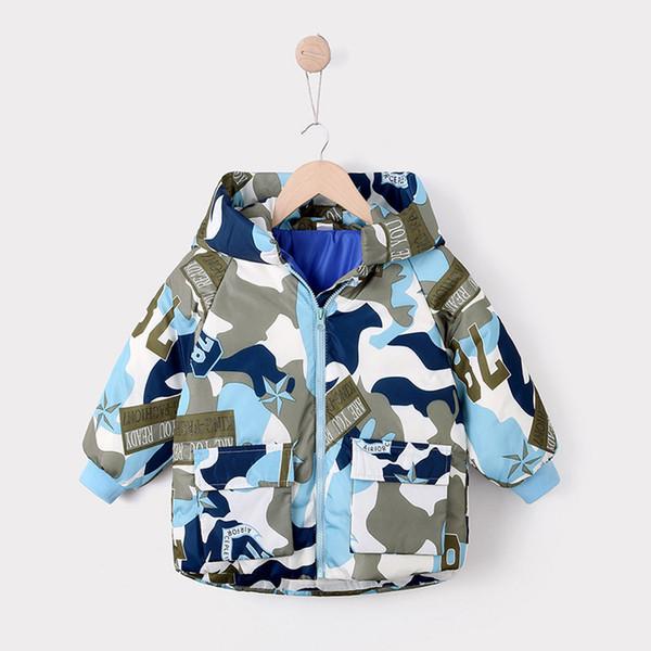 Bebés Meninas Jacket Jacket Inverno Para Brasão meninas da criança com capuz acolchoado camuflagem à prova de vento Boy Jacket Crianças Roupa