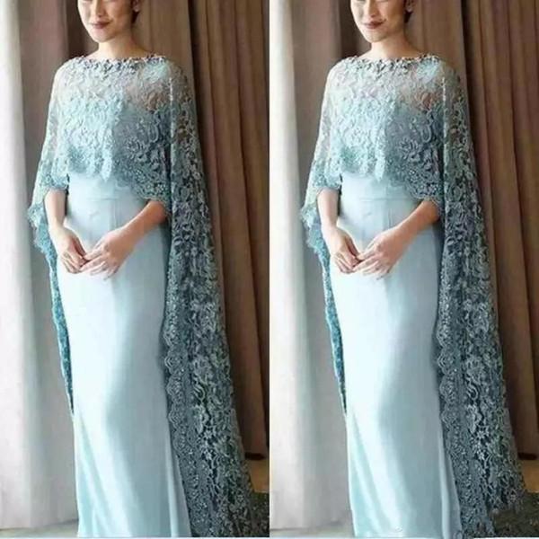 Elegante Mãe Vestidos de 2019 Árabe Dubai Kftan Com Laço Cape Jewel Neck Mãe da Noiva Noivo Vestido Formal Vestidos de Festa À Noite