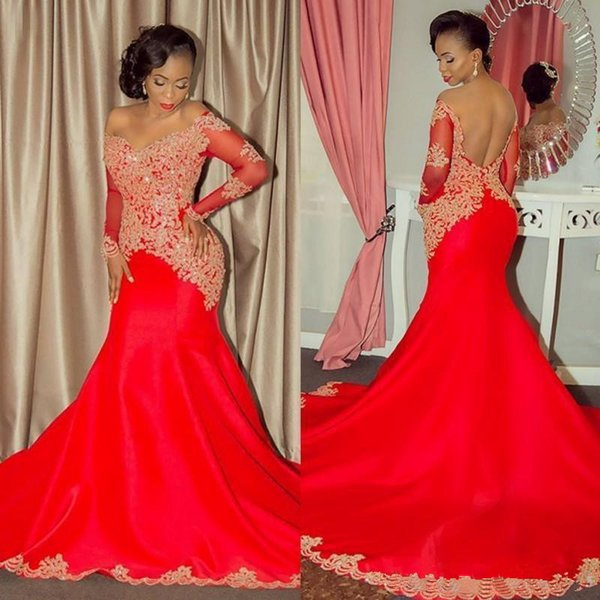 Saudi Arabia Red Prom Dresses Lace Appliques Sheer Long Sleeves Mermaid Evening Gowns Sexy Off Shoulder Backless Formal Party Dress