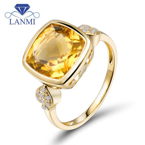 07603a20c3b1 Anillo clásico 18 k amarillo sólido oro piedras preciosas citrino anillos  de compromiso corte fino joyería