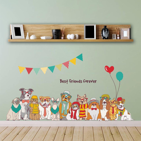 BEST FRIENDS FOREVER New DIY Dogs Family Cartoon Wall Stickers Decals PVC Self-adhesive Animals Wall Art for Kids Room and Nursery Decor