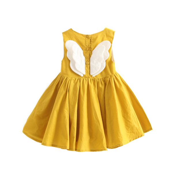Baby Angel Feathers Party Dress Princess Children Girls Dresses Baby Girls Dresses Kids Clothes with Sunflower 3Color 2-6T