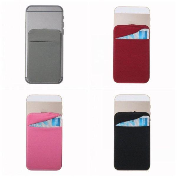 Titular de la tarjeta del teléfono móvil a prueba de agua elástico teléfono móvil bolsillo adhesivo etiqueta Lycra accesorio teléfono monedero tarjeta manga ZZA217