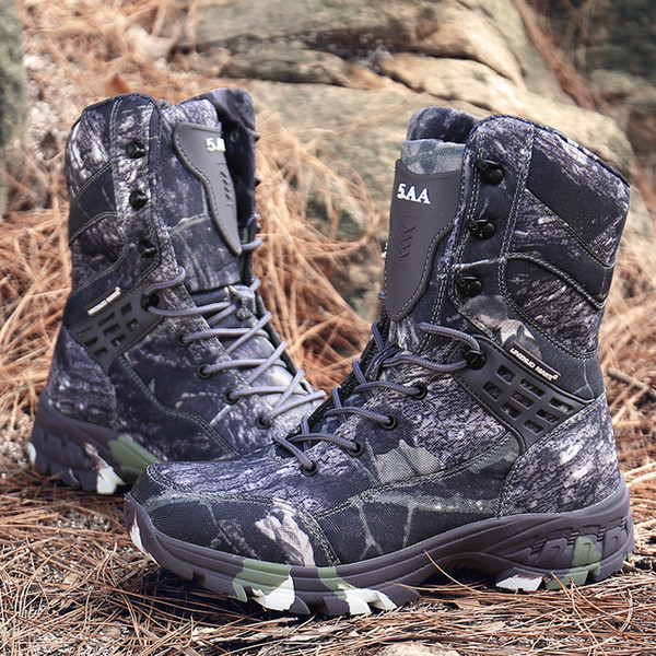New Camo Leather Military Boots Men Special Force Tactical Botas Outdoor Desert Combat Shoes Waterproof Man Hiking Hunting Boots